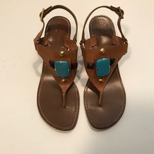 Tory Burch Tan Stoned Heel Sandals